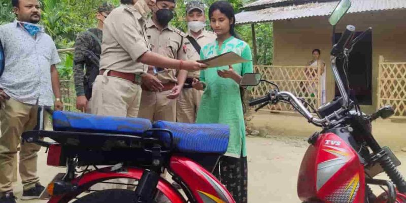 dibrugarh police gift moped to a girl